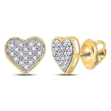 Las Villas Jewelry Diamond Cluster Earring 10kt Yellow Gold Womens Round Diamond Heart Cluster Stud Earrings 1/10 Cttw