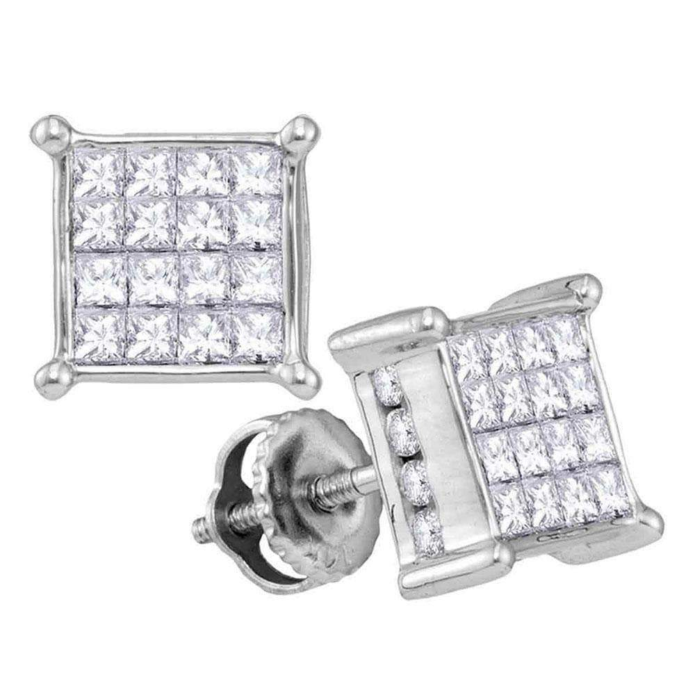 Las Villas Jewelry Diamond Cluster Earring 14kt White Gold Womens Princess Diamond Cluster Stud Earrings 1.00 Cttw