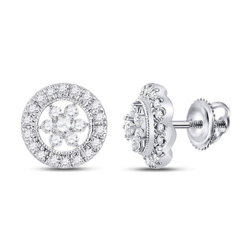 Las Villas Jewelry Diamond Cluster Earring 14kt White Gold Womens Round Diamond Circle Floral Cluster Earrings 3/8 Cttw