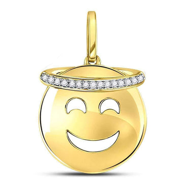 Las Villas Jewelry Diamond Fashion Pendant 10kt Yellow Gold Womens Round Diamond Smiley Face Halo Emoji Pendant 1/20 Cttw