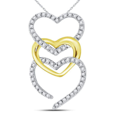 Las Villas Jewelry Diamond Heart & Love Symbol Pendant 10kt Two-tone Gold Womens Round Diamond Triple Cascading Heart Pendant 1/6 Cttw