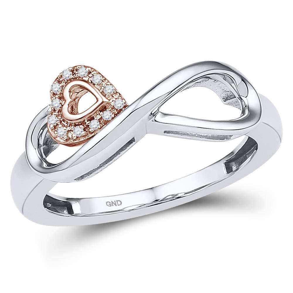 Las Villas Jewelry Diamond Heart Ring 10kt White Gold Womens Round Diamond Rose-tone Heart Infinity Ring 1/20 Cttw