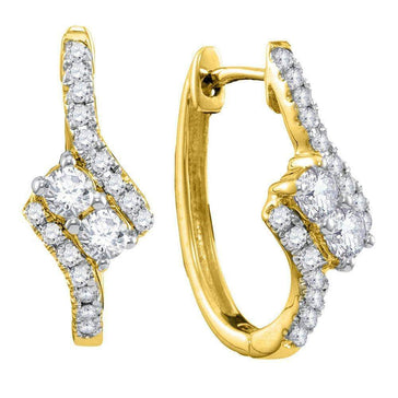 Las Villas Jewelry Diamond Hoop Earring 14kt Yellow Gold Womens Round Diamond 2-stone Hearts Together Bypass Hoop Earrings 1/2 Cttw