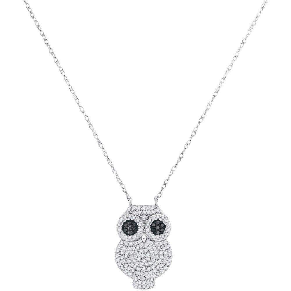 Las Villas Jewelry Diamond Necklace 10kt White Gold Womens Round Black Color Enhanced Diamond Owl Bird Pendant Necklace 3/8 Cttw