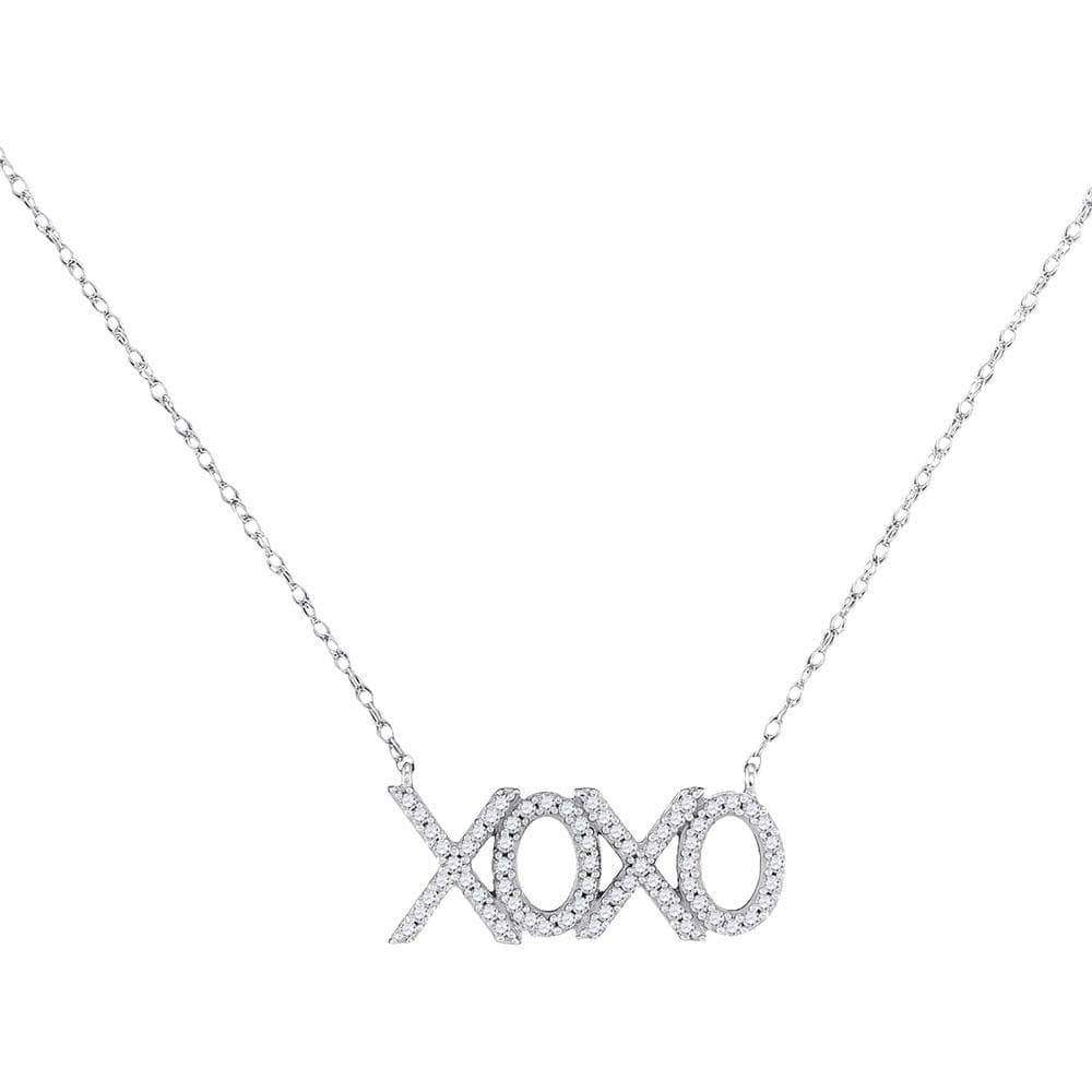 Las Villas Jewelry Diamond Necklace 10kt White Gold Womens Round Diamond XOXO Hugs Kisses Letter Pendant Necklace 1/5 Cttw