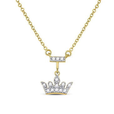Las Villas Jewelry Diamond Pendant Necklace 10kt Yellow Gold Womens Round Diamond Crown Tiara Fashion Necklace 1/20 Cttw