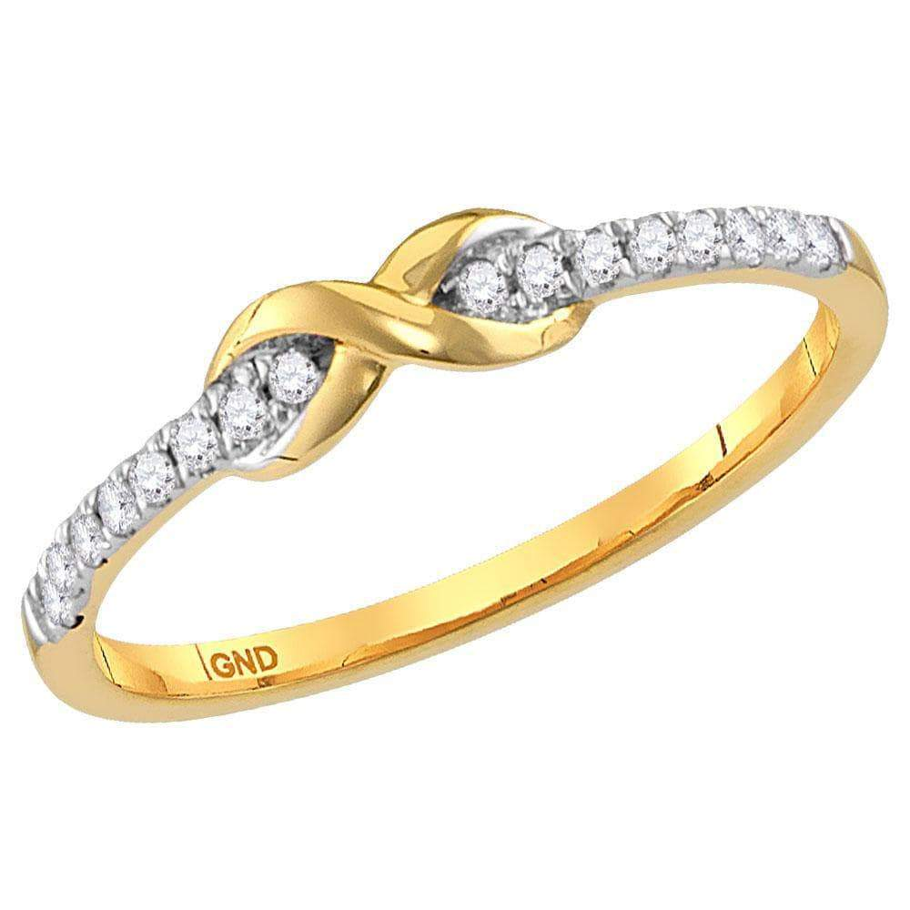 Las Villas Jewelry Diamond Stackable Band 10kt Yellow Gold Womens Round Diamond Infinity Knot Stackable Ring 1/10 Cttw