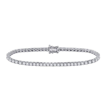 Las Villas Jewelry Diamond Tennis Bracelet 10kt White Gold Womens Round Diamond Studded Tennis Bracelet 1.00 Cttw