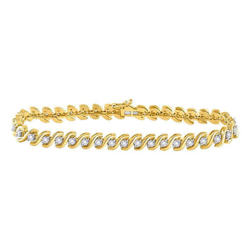 Las Villas Jewelry Diamond Tennis Bracelet 10kt Yellow Gold Womens Round Diamond Studded Tennis Bracelet 1/2 Cttw