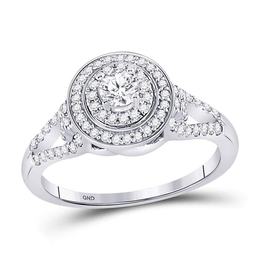 Las Villas Jewelry Engagement Bridal Ring 10kt White Gold Womens Round Diamond Solitaire Bridal Wedding Engagement Ring 1/2 Cttw