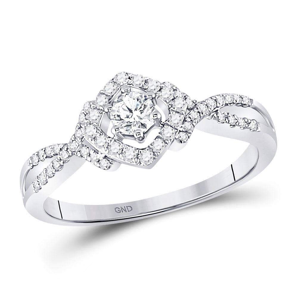 Las Villas Jewelry Engagement Bridal Ring 10kt White Gold Womens Round Diamond Solitaire Bridal Wedding Engagement Ring 3/8 Cttw
