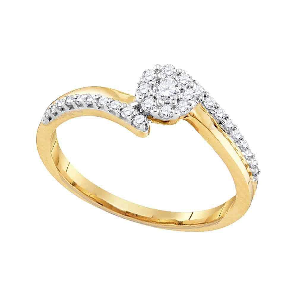 Las Villas Jewelry Engagement Bridal Ring 10kt Yellow Gold Womens Round Diamond Cluster Bridal Wedding Engagement Ring 1/4 Cttw