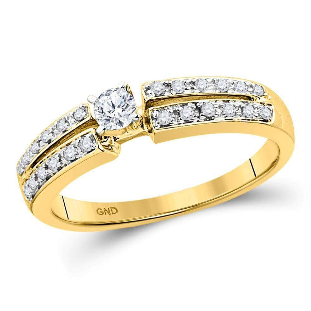 Las Villas Jewelry Engagement Bridal Ring 10kt Yellow Gold Womens Round Diamond Solitaire Bridal Wedding Engagement Ring 1/4 Cttw