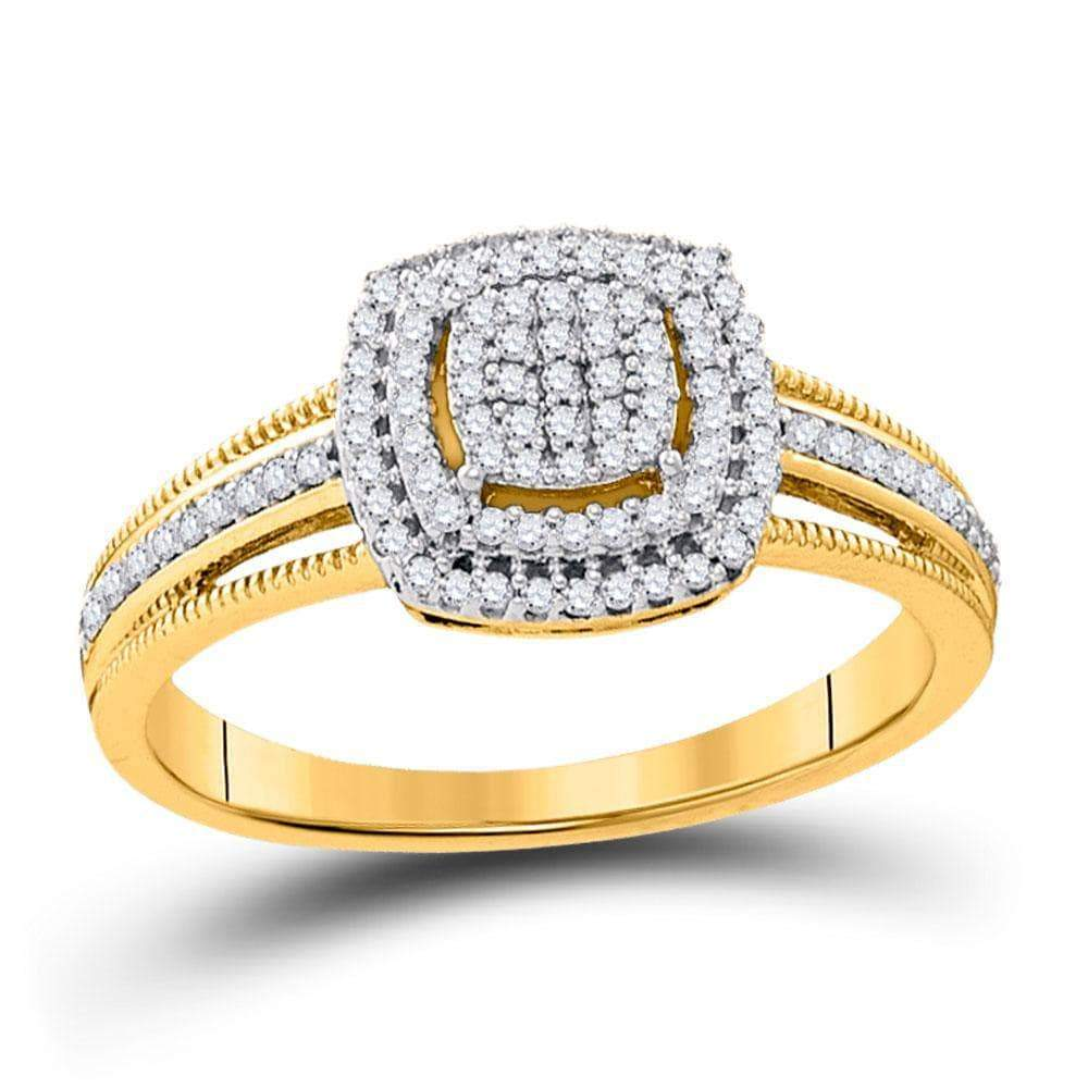 Las Villas Jewelry Engagement Bridal Ring 10kt Yellow Gold Womens Round Diamond Square Cluster Bridal Wedding Engagement Ring 1/4 Cttw