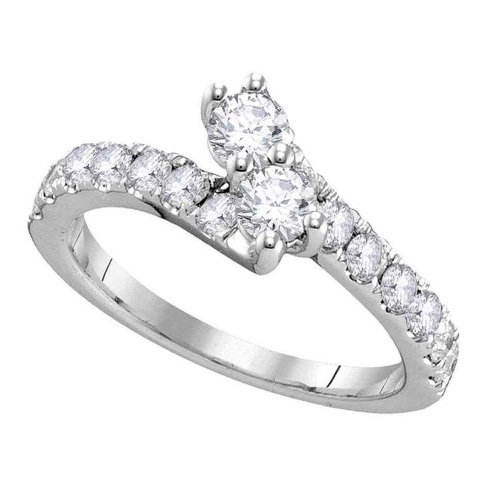 Las Villas Jewelry Engagement Bridal Ring 14kt White Gold Womens Round Diamond 2-stone Hearts Together Bridal Wedding Engagement Ring 3/4 Cttw