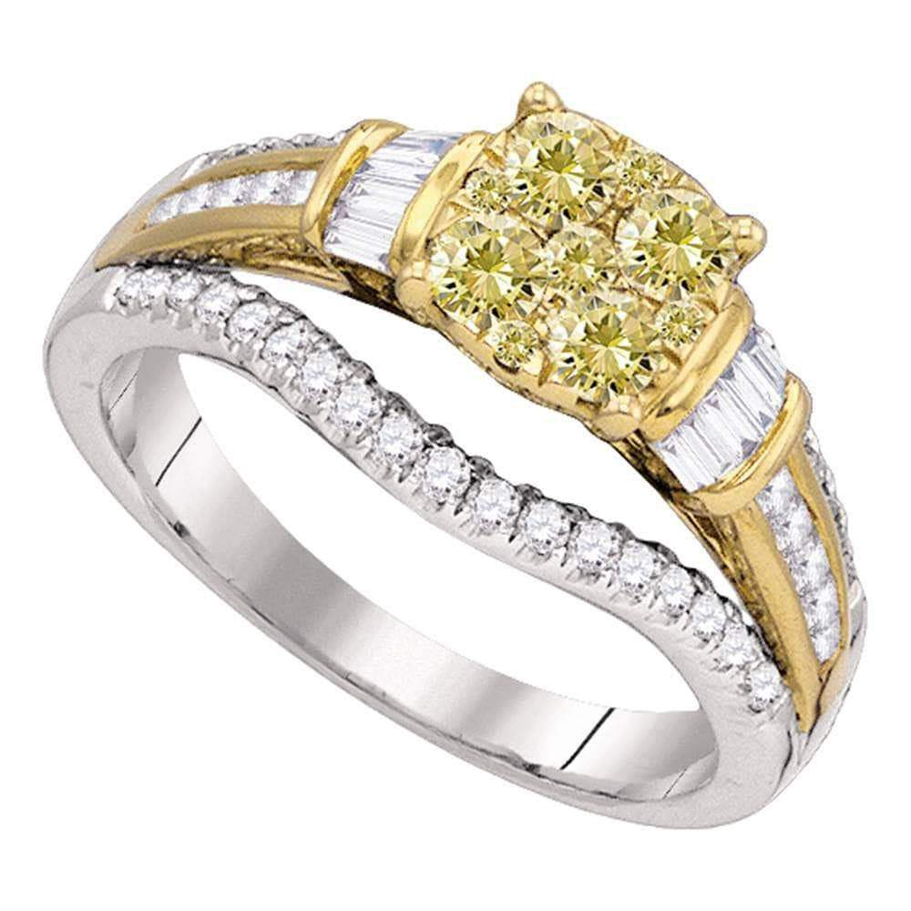 Las Villas Jewelry Engagement Bridal Ring 14kt White Gold Womens Round Yellow Diamond Cluster Bridal Wedding Engagement Ring 1.00 Cttw
