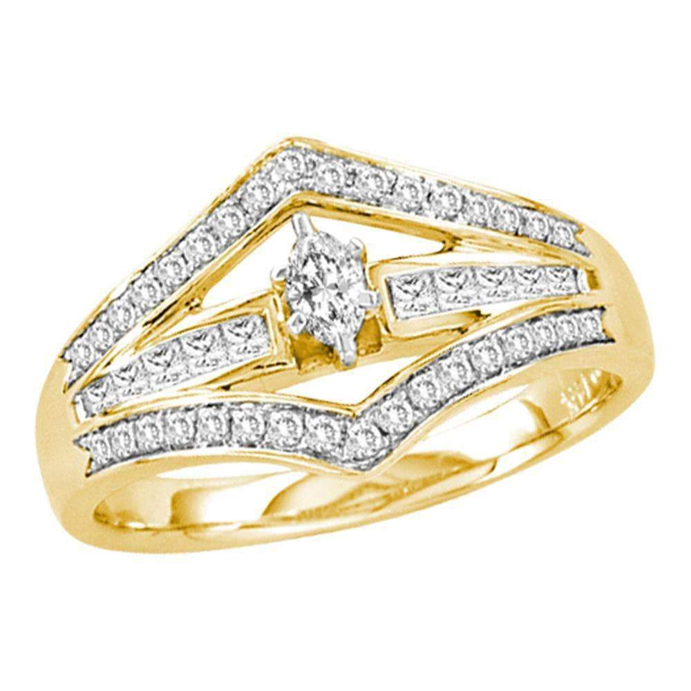 Las Villas Jewelry Engagement Bridal Ring 14kt Yellow Gold Womens Marquise Diamond Marquise Bridal Wedding Engagement Ring 1/2 Cttw