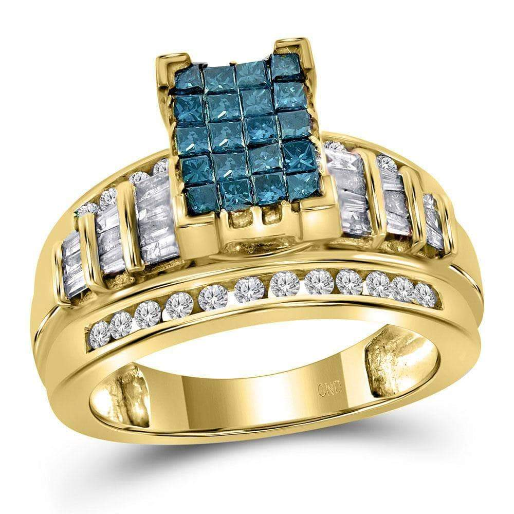 Las Villas Jewelry Engagement Bridal Ring 14kt Yellow Gold Womens Princess Blue Color Enhanced Diamond Cluster Bridal Wedding Engagement Ring 1.00 Cttw