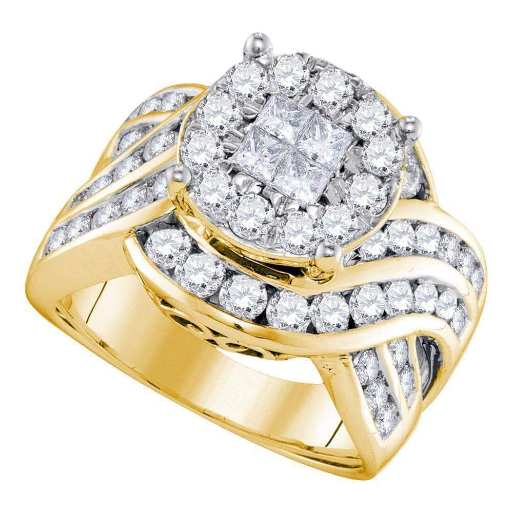 Las Villas Jewelry Engagement Bridal Ring 14kt Yellow Gold Womens Princess Round Diamond Soleil Cluster Bridal Wedding Engagement Ring 2-1/2 Cttw