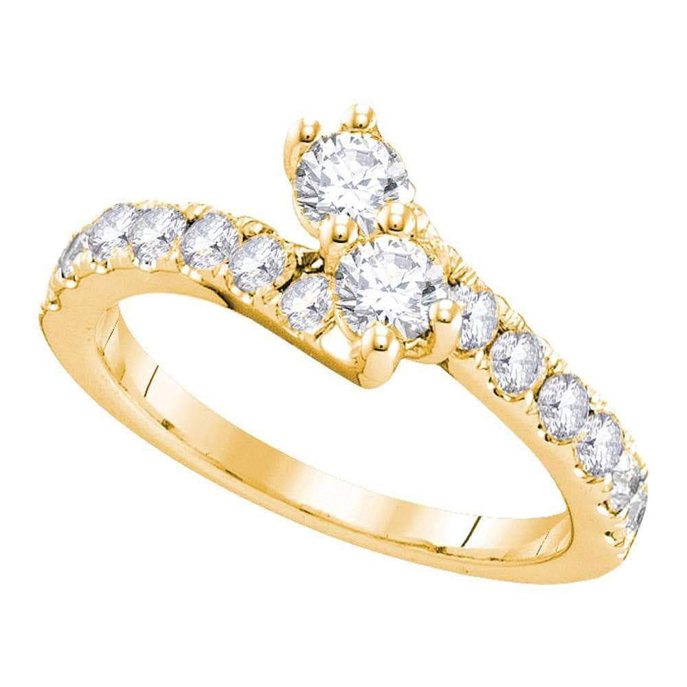 Las Villas Jewelry Engagement Bridal Ring 14kt Yellow Gold Womens Round Diamond 2-stone Hearts Together Bridal Wedding Engagement Ring 1/2 Cttw (Certified)