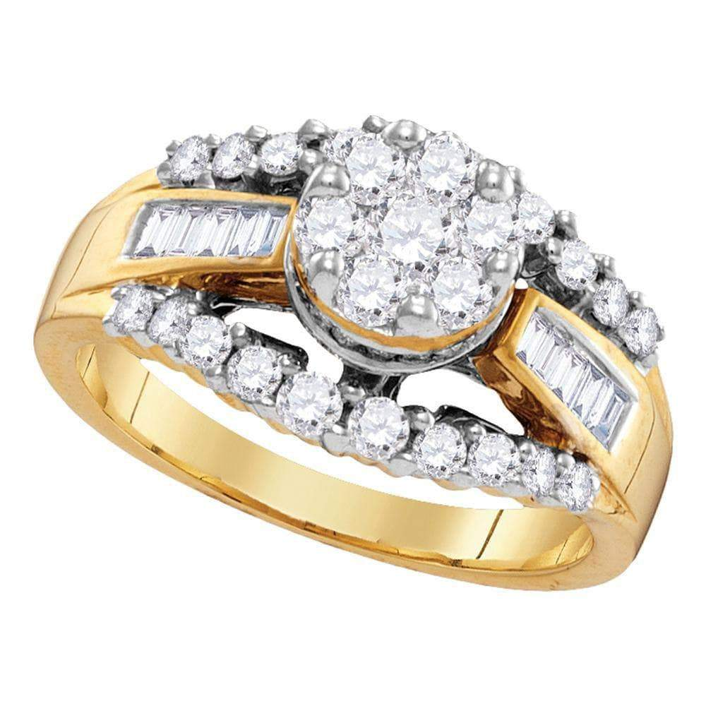 Las Villas Jewelry Engagement Bridal Ring 14kt Yellow Gold Womens Round Diamond Cluster Bridal Wedding Engagement Ring 1.00 Cttw