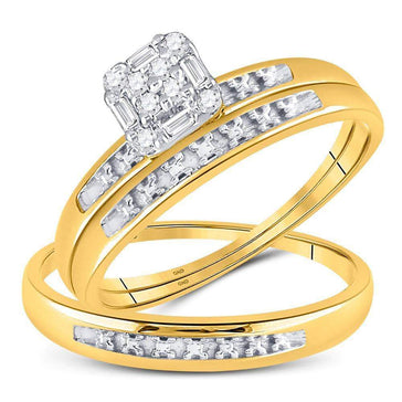 Las Villas Jewelry His & Hers Trio Wedding Ring Set 10kt Yellow Gold His & Hers Round Diamond Cluster Matching Bridal Wedding Ring Band Set 1/10 Cttw