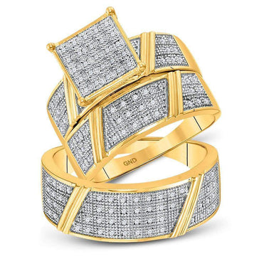 Las Villas Jewelry His & Hers Trio Wedding Ring Set 10kt Yellow Gold His & Hers Round Diamond Cluster Matching Bridal Wedding Ring Band Set 1/3 Cttw