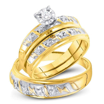 Las Villas Jewelry His & Hers Trio Wedding Ring Set 10kt Yellow Gold His & Hers Round Diamond Solitaire Matching Bridal Wedding Ring Band Set 1/12 Cttw