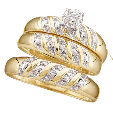 Las Villas Jewelry His & Hers Trio Wedding Ring Set 10kt Yellow Gold His Hers Round Diamond Solitaire Matching Bridal Wedding Ring Band Set 1/20 Cttw
