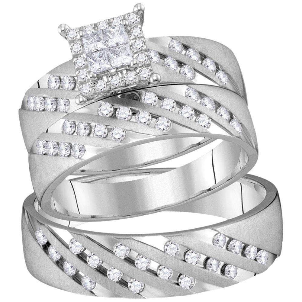 Las Villas Jewelry His & Hers Trio Wedding Ring Set 14kt White Gold His & Hers Princess Diamond Cluster Matching Bridal Wedding Ring Band Set 7/8 Cttw