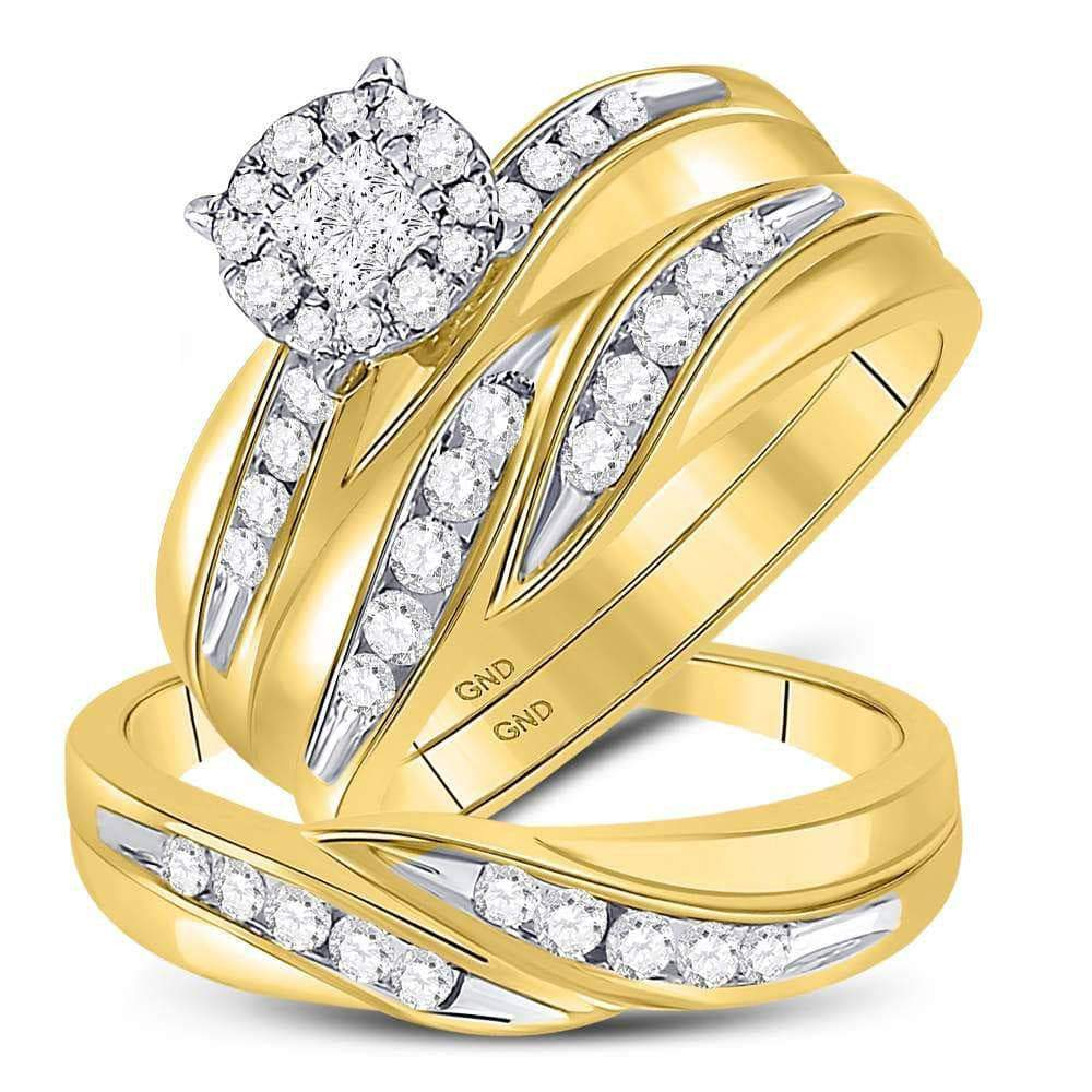 Las Villas Jewelry His & Hers Trio Wedding Ring Set 14kt Yellow Gold His & Hers Princess Diamond Soleil Cluster Matching Bridal Wedding Ring Band Set 5/8 Cttw