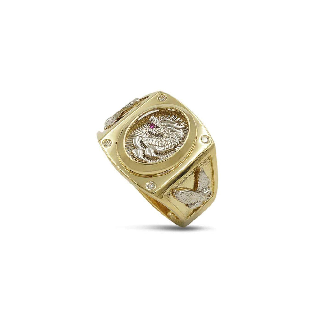 Las Villas Jewelry Men's Big Look Rings 12 Dragon Mens Ring in 10kt Gold