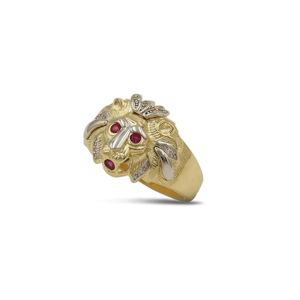 Las Villas Jewelry Men's Big Look Rings 13 Lion Mens Ring in 10kt Gold