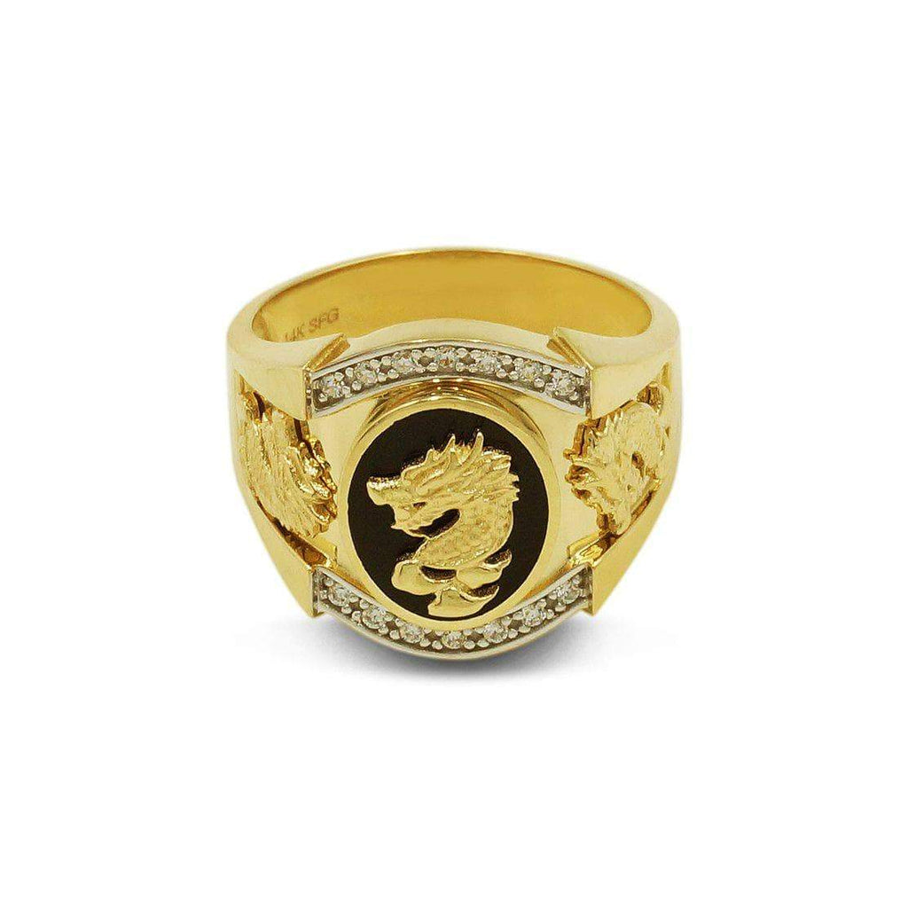 Las Villas Jewelry Men's Big Look Rings Chinese Dragon Mens Ring in 14kt Yellow Gold