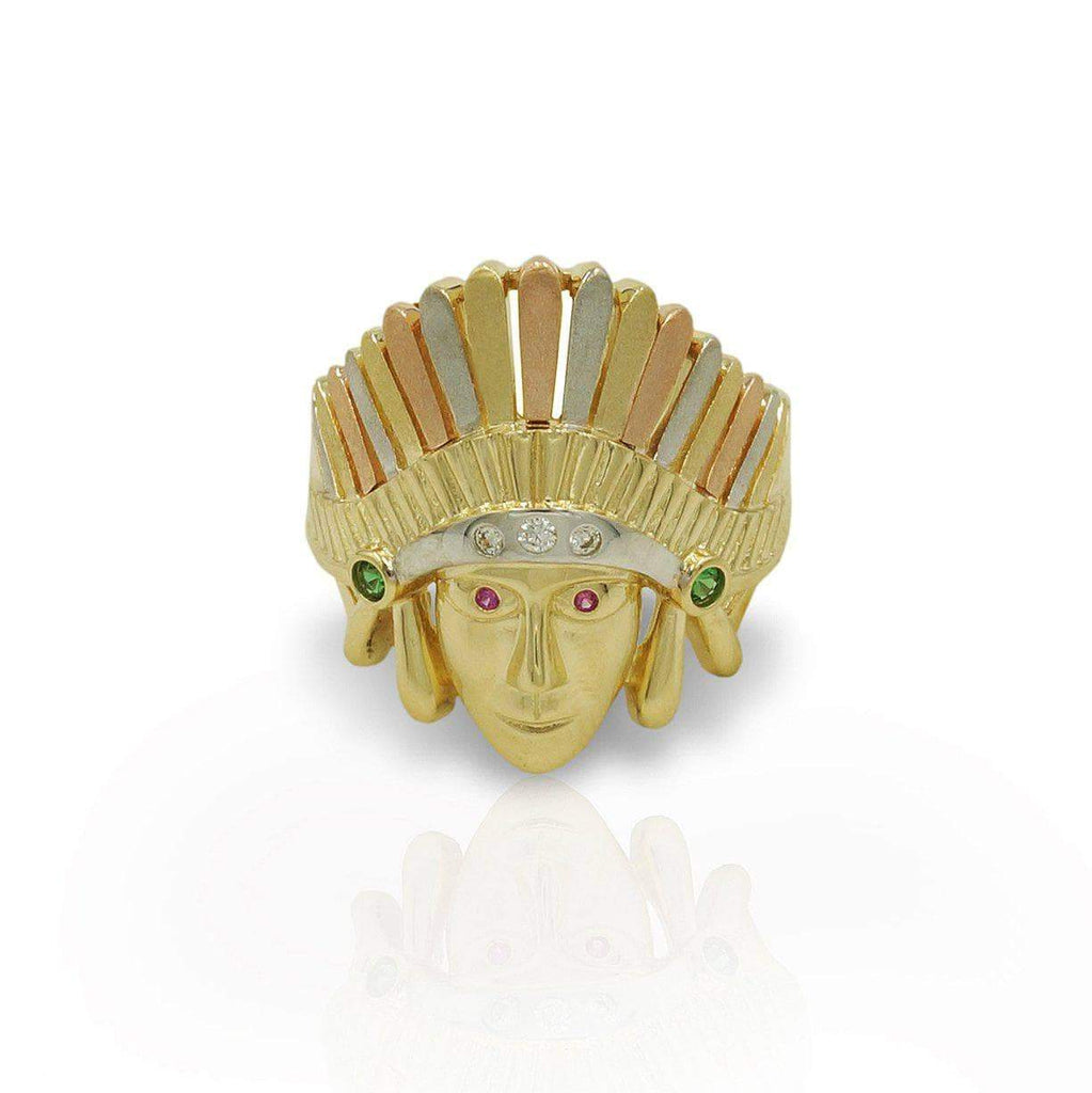 Las Villas Jewelry Men's Big Look Rings Indian Tri-Color Mens Rings in 14kt Gold