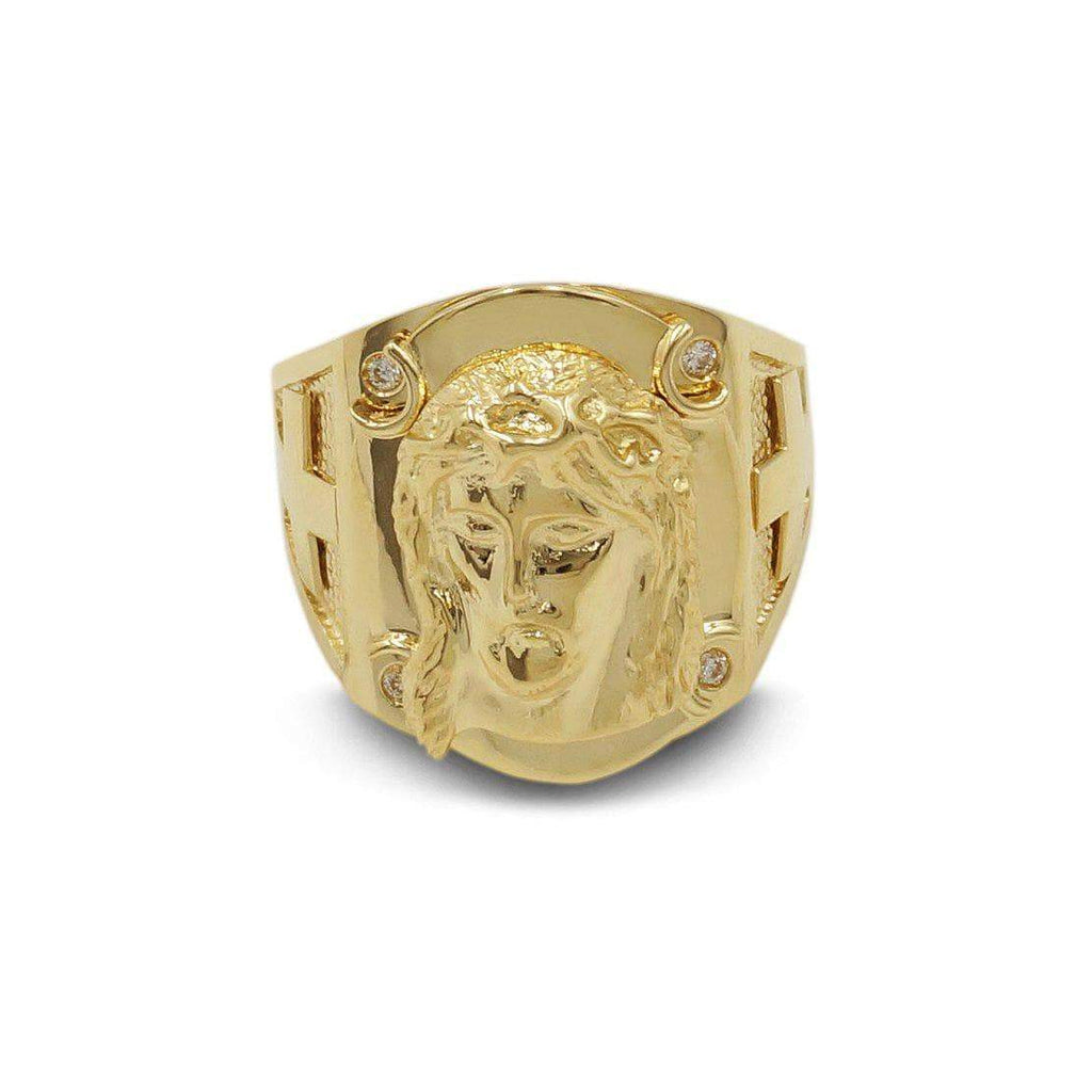 Las Villas Jewelry Men's Big Look Rings Jesus face Mens Ring in 14kt Yellow Gold