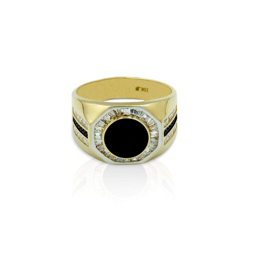 Las Villas Jewelry Men's Big Look Rings Mens Stylish Ring with Zirconia in 10kt Gold