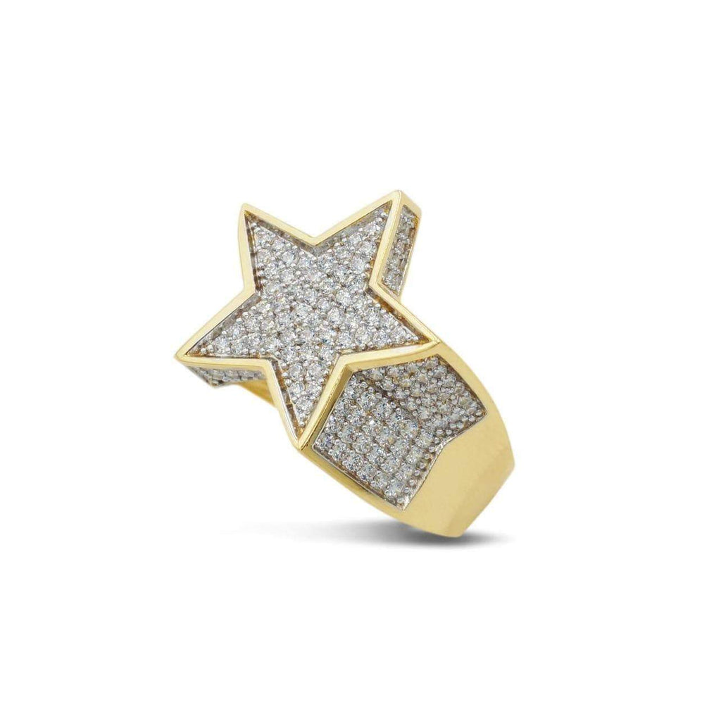 Las Villas Jewelry Men's Big Look Rings Star Filled with CZ Mens Ring in 14kt Yellow Gold