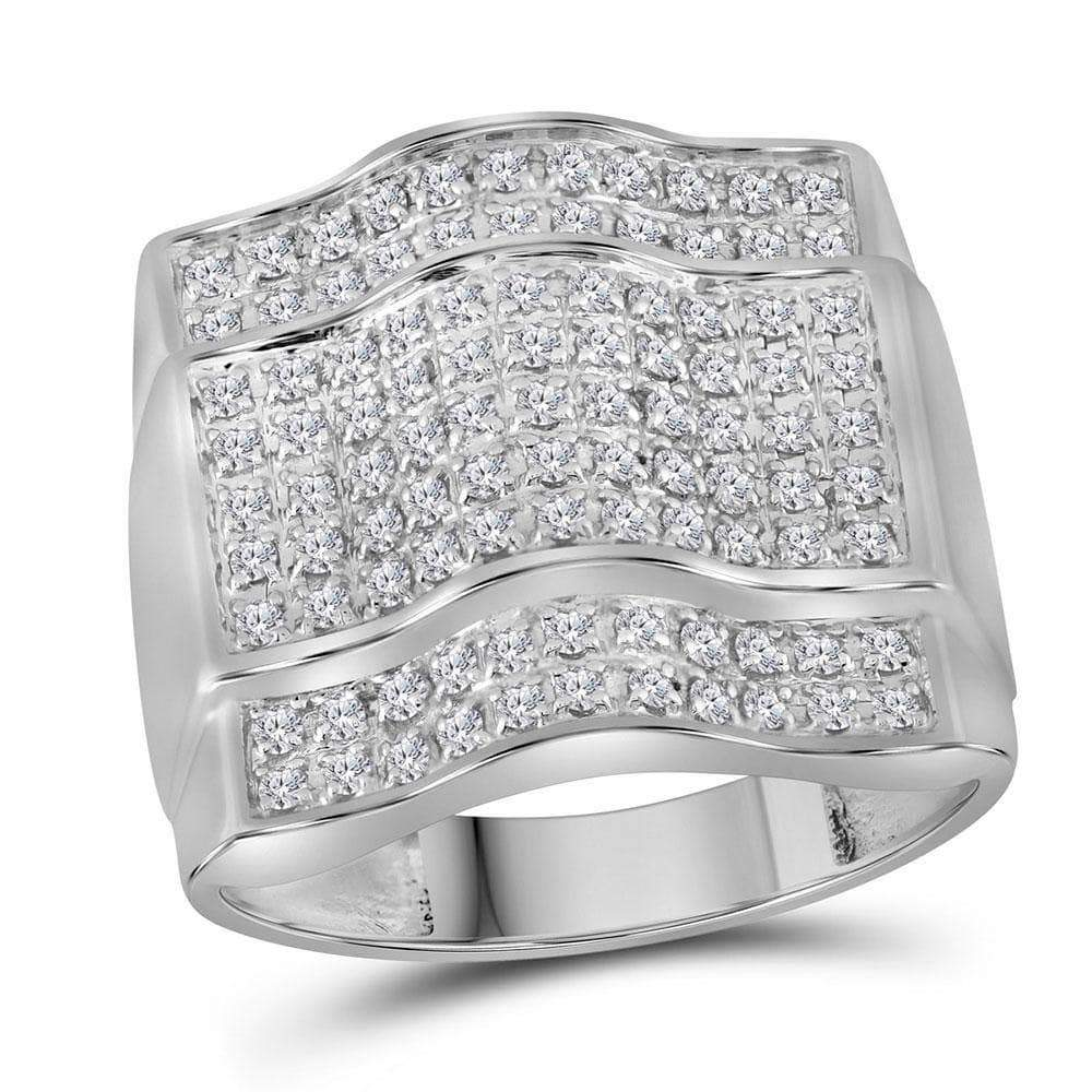 Las Villas Jewelry Men's Diamond Fashion Ring 10kt White Gold Mens Round Diamond Arched Square Cluster Ring 1.00 Cttw