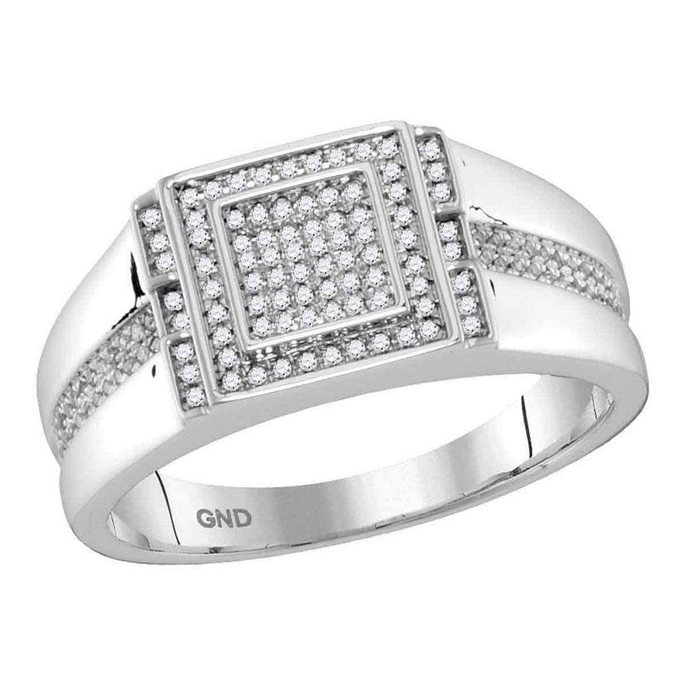 Las Villas Jewelry Men's Diamond Fashion Ring 10kt White Gold Mens Round Diamond Square Cluster Ring 1/5 Cttw