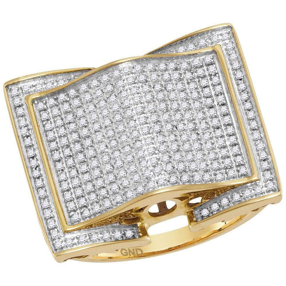 Las Villas Jewelry Men's Diamond Fashion Ring 10kt Yellow Gold Mens Round Diamond Arched Square Cluster Ring 3/4 Cttw