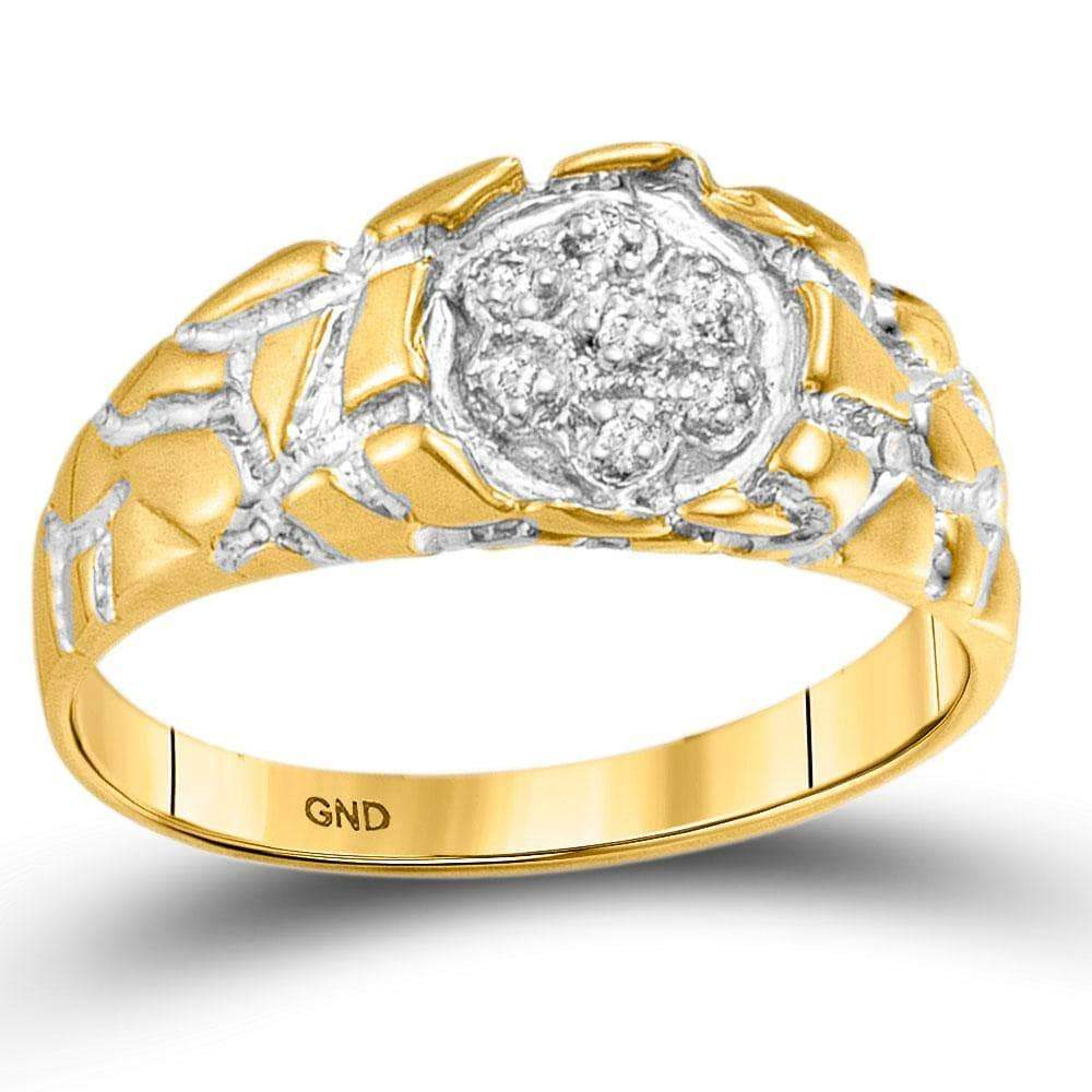 Las Villas Jewelry Men's Diamond Fashion Ring 10kt Yellow Gold Mens Round Diamond Cluster Nugget Band Ring 1/20 Cttw