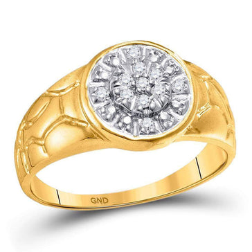 Las Villas Jewelry Men's Diamond Fashion Ring 10kt Yellow Gold Mens Round Diamond Cluster Nugget Ring 1/8 Cttw