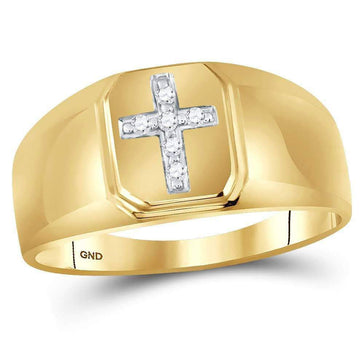 Las Villas Jewelry Men's Diamond Fashion Ring 10kt Yellow Gold Mens Round Diamond Cross Brushed Band Ring 1/20 Cttw