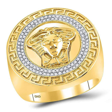 Las Villas Jewelry Men's Diamond Fashion Ring 10kt Yellow Gold Mens Round Diamond Medusa Face Greek Key Fashion Ring 1/3 Cttw