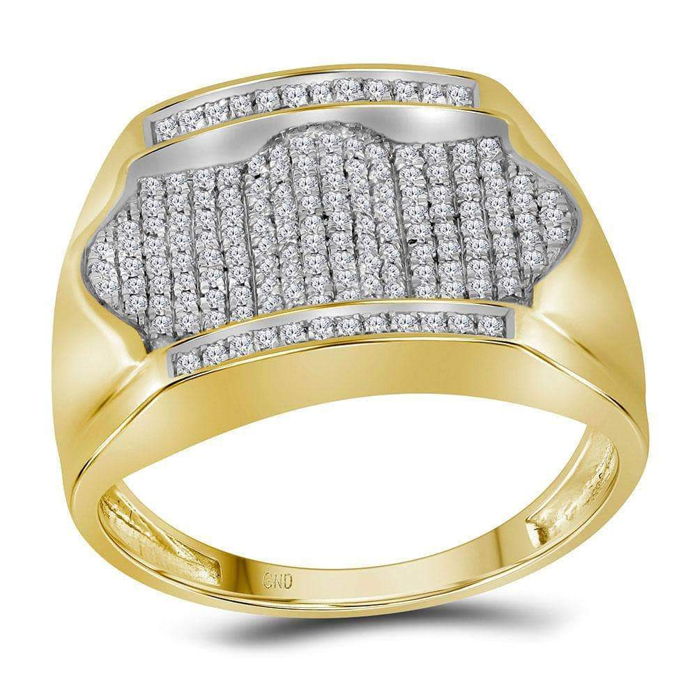 Las Villas Jewelry Men's Diamond Fashion Ring 10kt Yellow Gold Mens Round Diamond Rectangle Arched Cluster Ring 1/2 Cttw