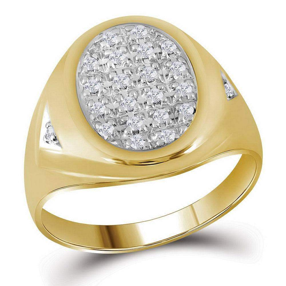 Las Villas Jewelry Men's Diamond Fashion Ring 10kt Yellow Gold Mens Round Prong-set Diamond Oval Cluster Ring 1/4 Cttw