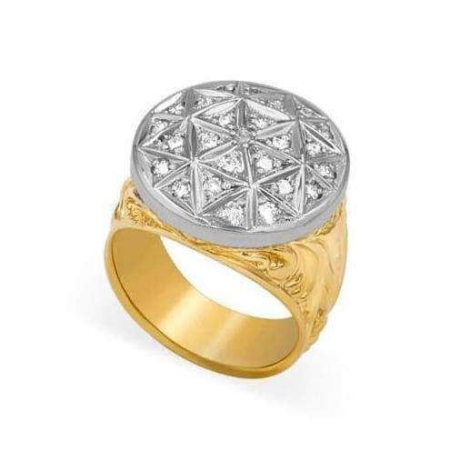Las Villas Jewelry Men's Diamond Fashion Ring 14K Mens Diamond Two-Tone Fashion Ring Size 12