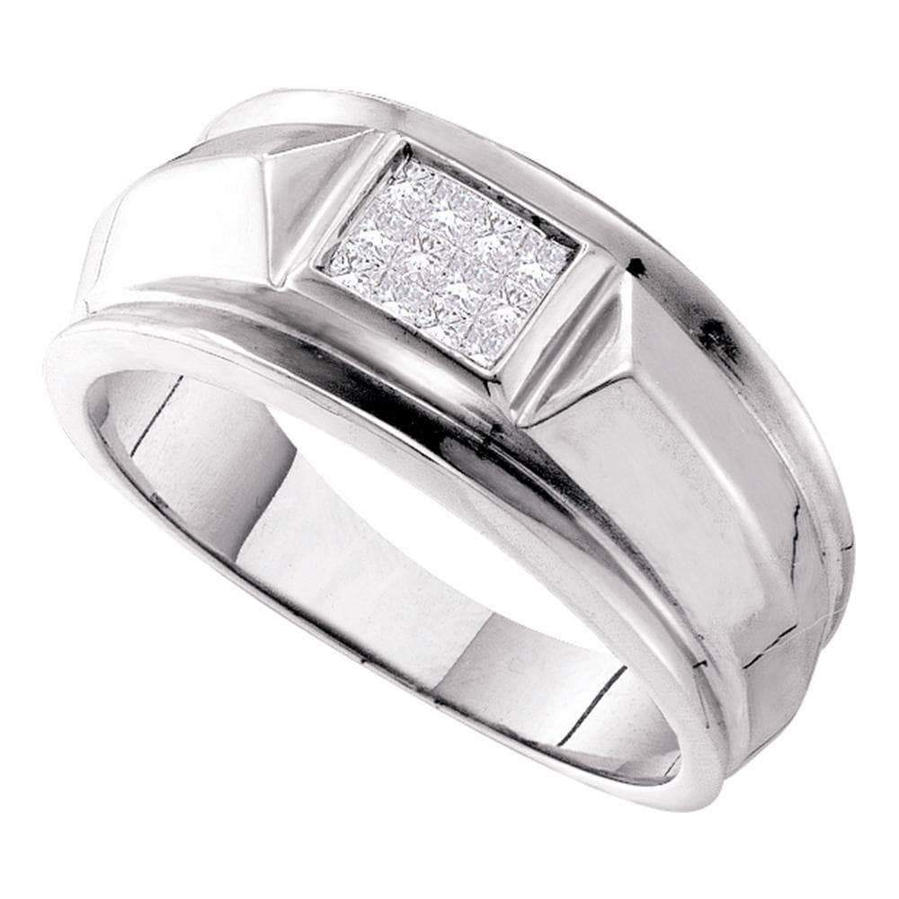 Las Villas Jewelry Men's Diamond Fashion Ring 14kt White Gold Mens Princess Diamond Cluster Band Ring 1/4 Cttw