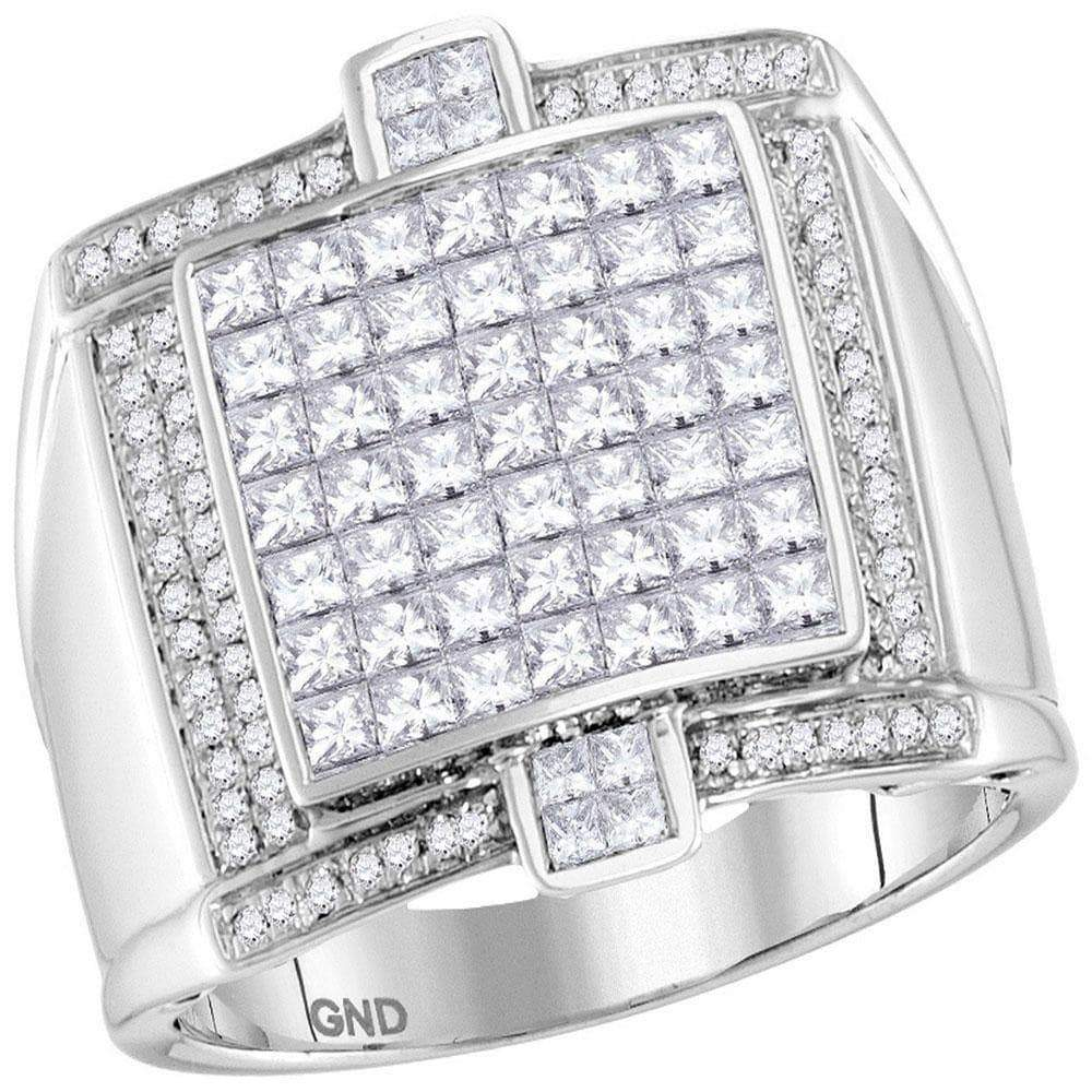 Las Villas Jewelry Men's Diamond Fashion Ring 14kt White Gold Mens Princess Diamond Square Luxury Cluster Ring 2.00 Cttw